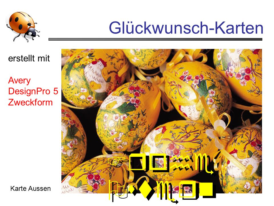 Frohe Ostern Glückwunsch-Karten erstellt mit Avery DesignPro 5