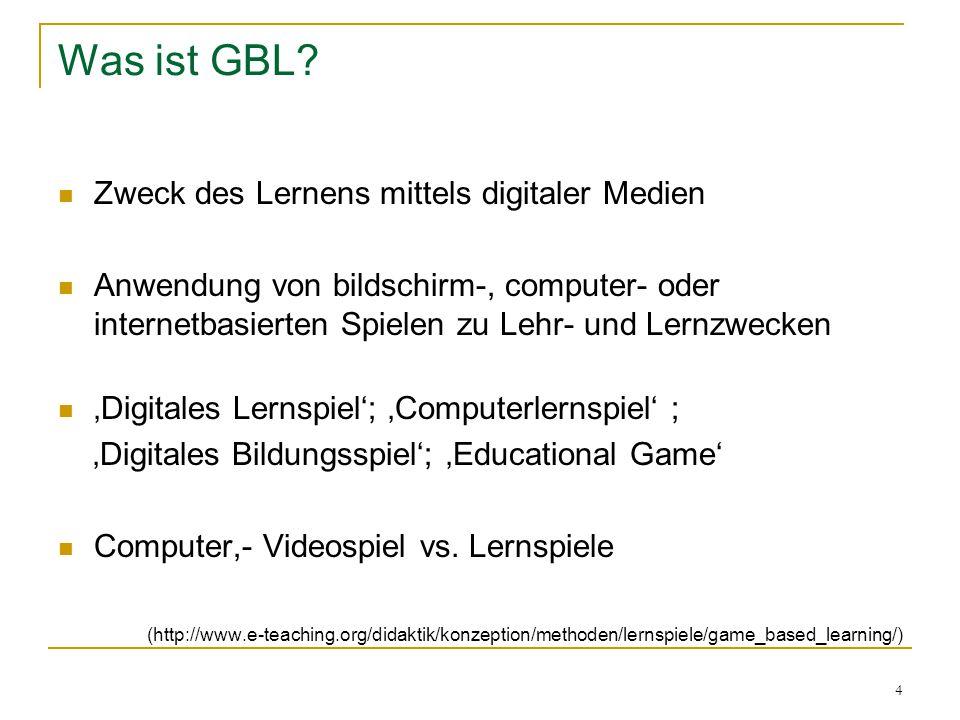 Was ist GBL Zweck des Lernens mittels digitaler Medien