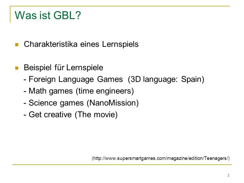Was ist GBL Charakteristika eines Lernspiels Beispiel für Lernspiele