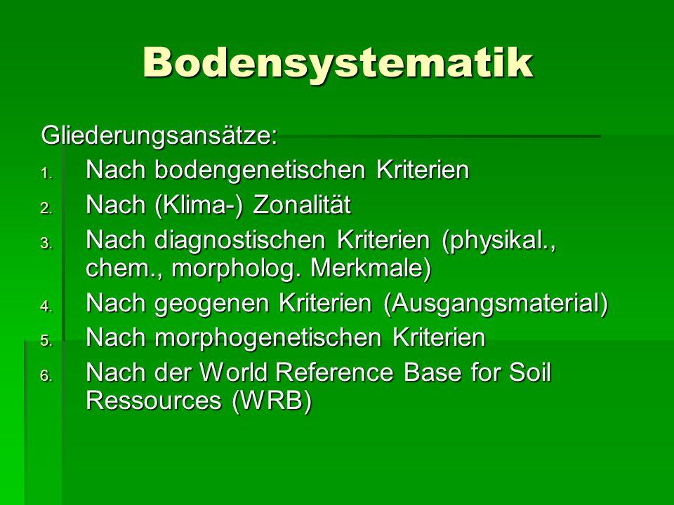 Bodensystematik Gliederungsansätze: Nach bodengenetischen Kriterien