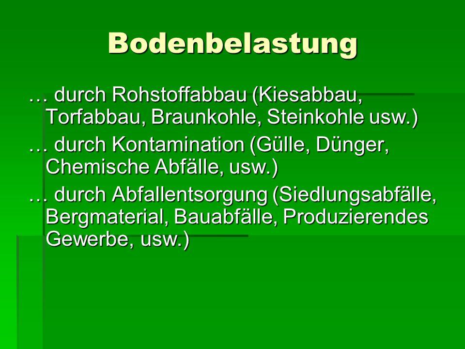 Bodenbelastung … durch Rohstoffabbau (Kiesabbau, Torfabbau, Braunkohle, Steinkohle usw.)