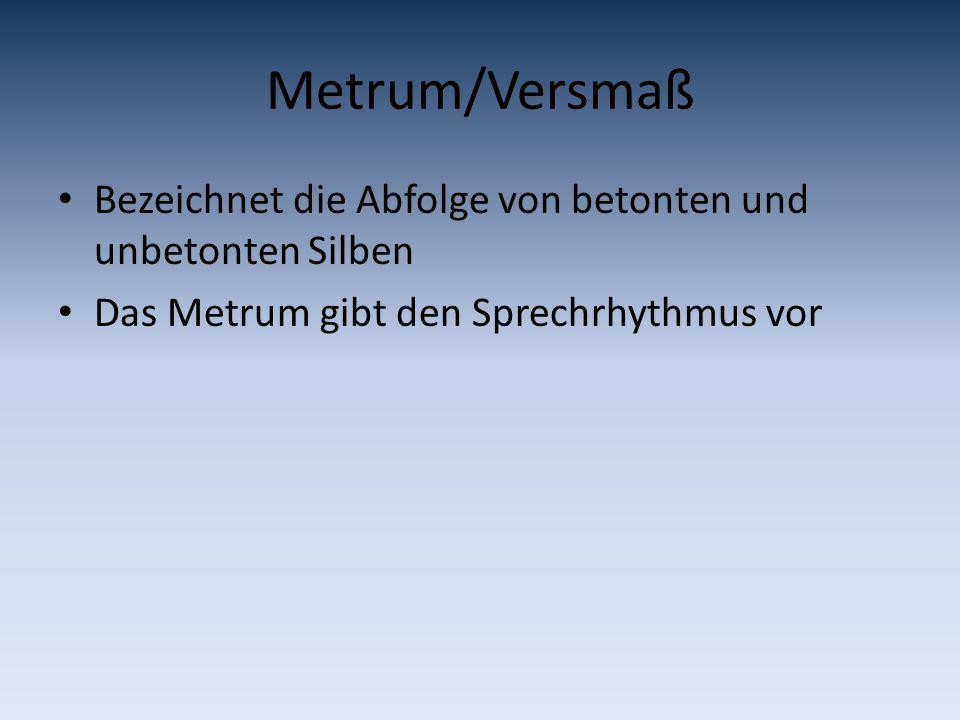 Metrum/Versmaß Bezeichnet die Abfolge von betonten und unbetonten Silben.