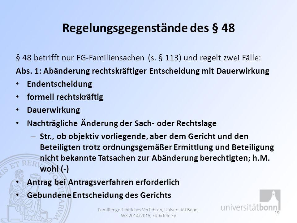 Regelungsgegenstände des § 48
