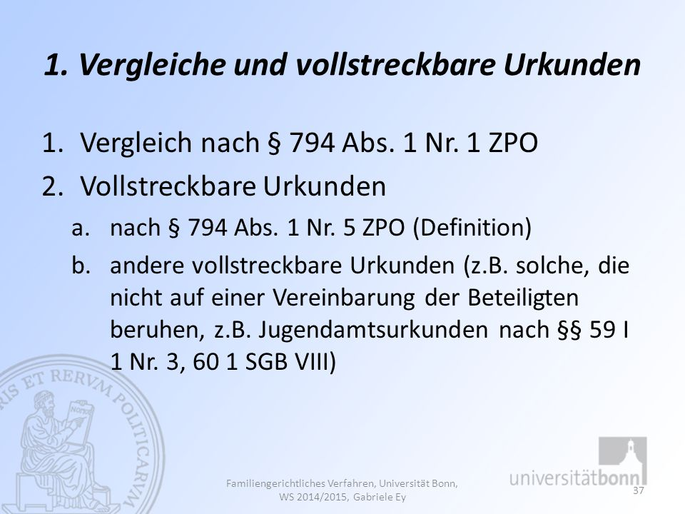 1. Vergleiche und vollstreckbare Urkunden