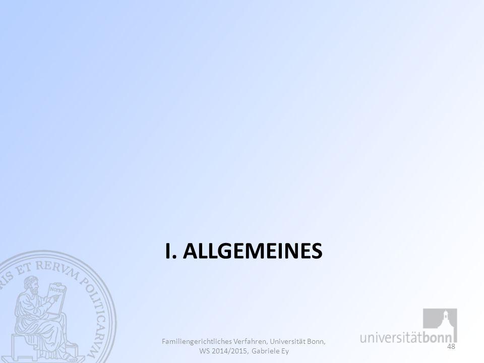 I. Allgemeines Familiengerichtliches Verfahren, Universität Bonn, WS 2014/2015, Gabriele Ey