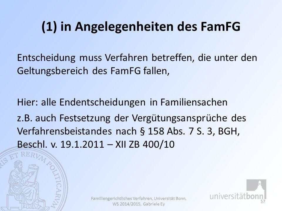 (1) in Angelegenheiten des FamFG