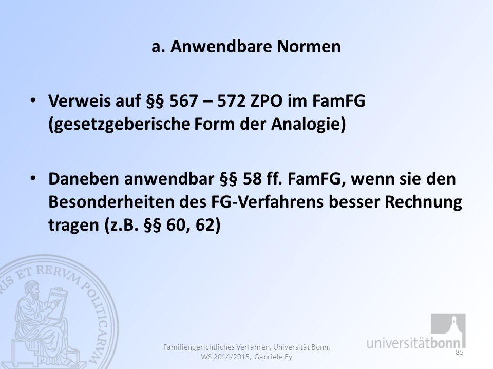 a. Anwendbare Normen Verweis auf §§ 567 – 572 ZPO im FamFG (gesetzgeberische Form der Analogie)