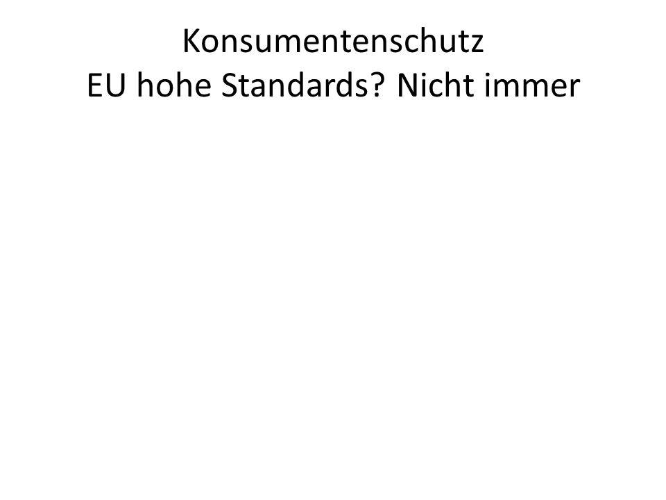 Konsumentenschutz EU hohe Standards Nicht immer