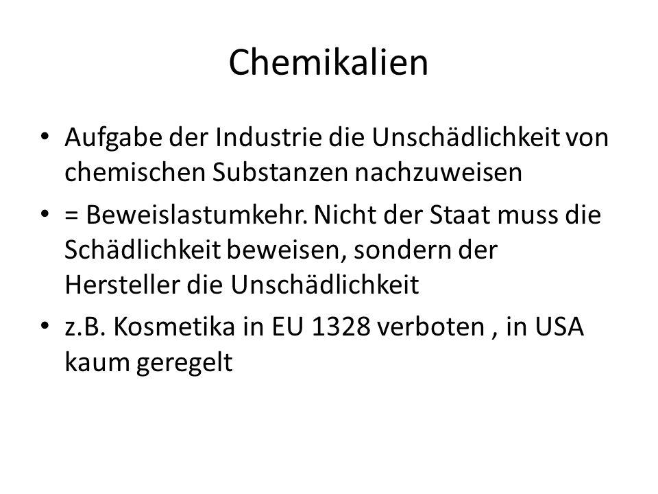 Chemikalien Aufgabe der Industrie die Unschädlichkeit von chemischen Substanzen nachzuweisen.