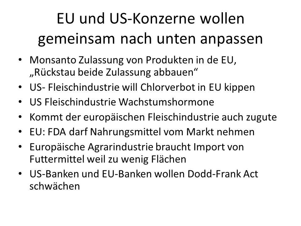 EU und US-Konzerne wollen gemeinsam nach unten anpassen
