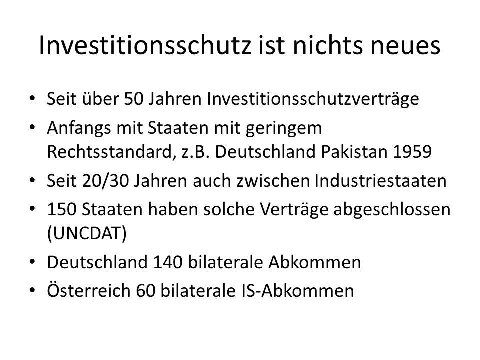 Investitionsschutz ist nichts neues