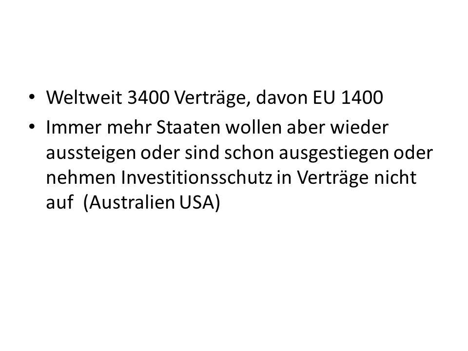 Weltweit 3400 Verträge, davon EU 1400