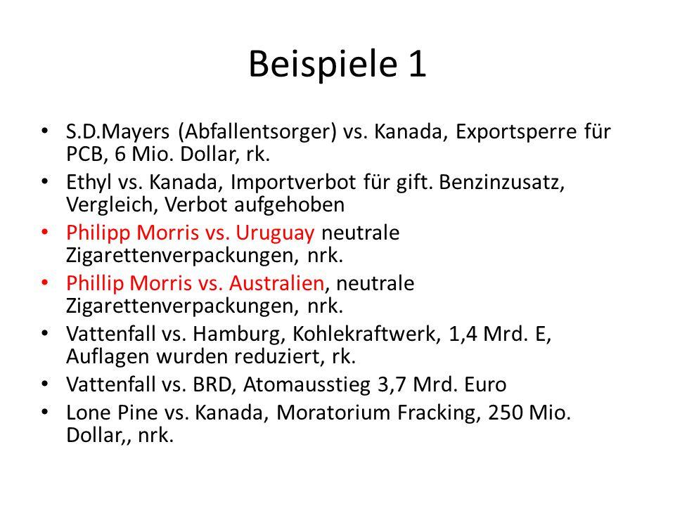 Beispiele 1 S.D.Mayers (Abfallentsorger) vs. Kanada, Exportsperre für PCB, 6 Mio. Dollar, rk.
