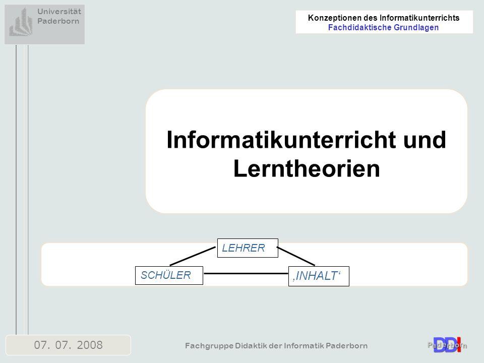 Informatikunterricht und Lerntheorien