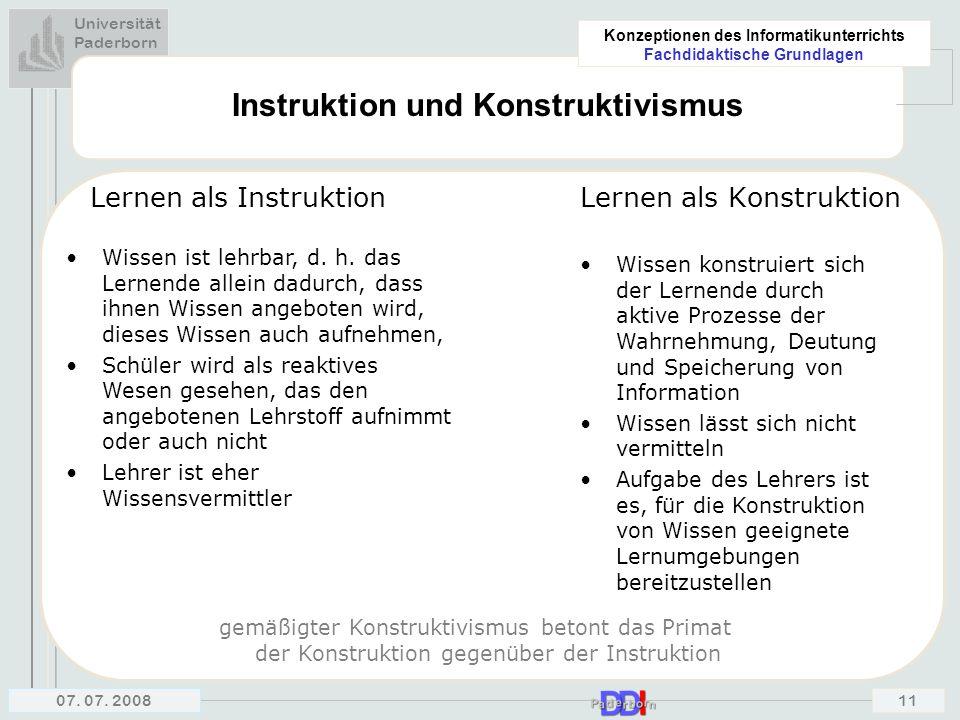 Instruktion und Konstruktivismus