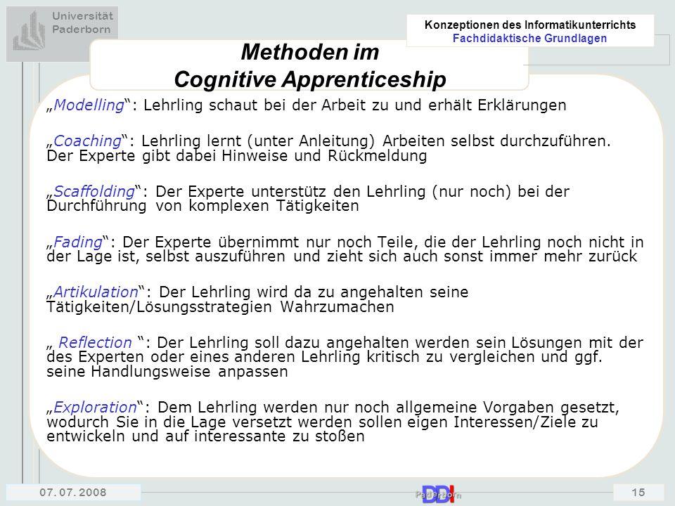 Methoden im Cognitive Apprenticeship