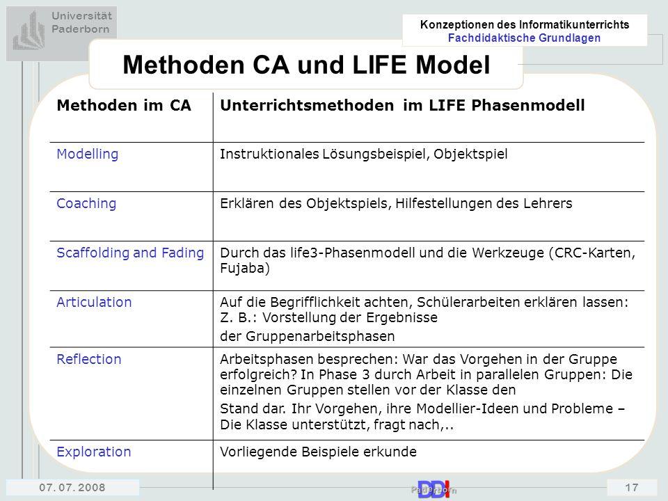 Methoden CA und LIFE Model