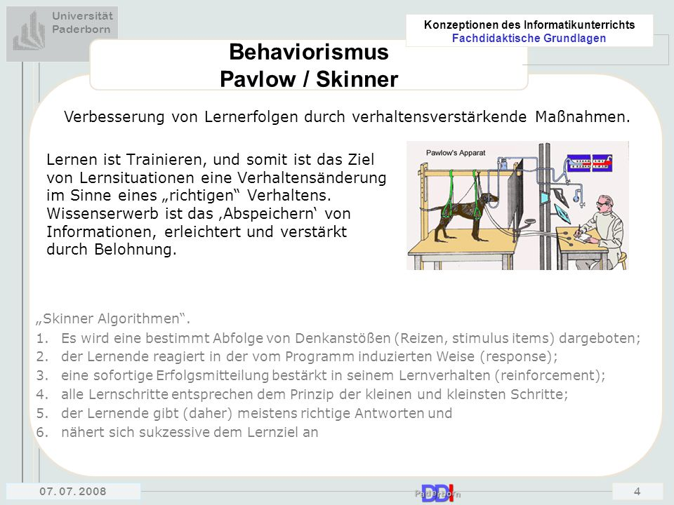 Behaviorismus Pavlow / Skinner
