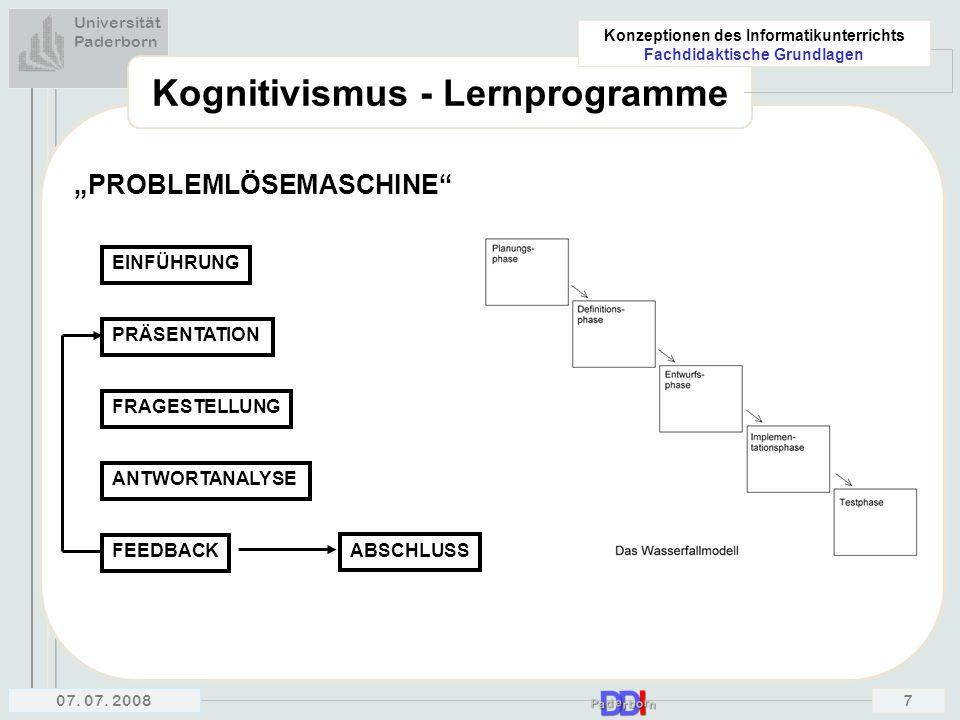 Kognitivismus - Lernprogramme