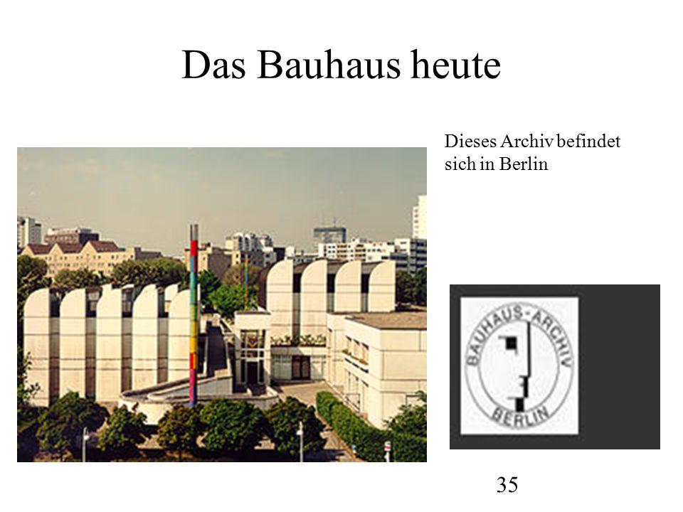 Das Bauhaus heute Dieses Archiv befindet sich in Berlin