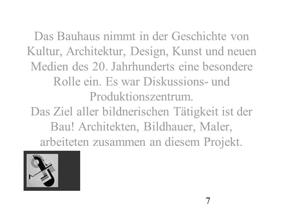 Das Bauhaus nimmt in der Geschichte von Kultur, Architektur, Design, Kunst und neuen Medien des 20.