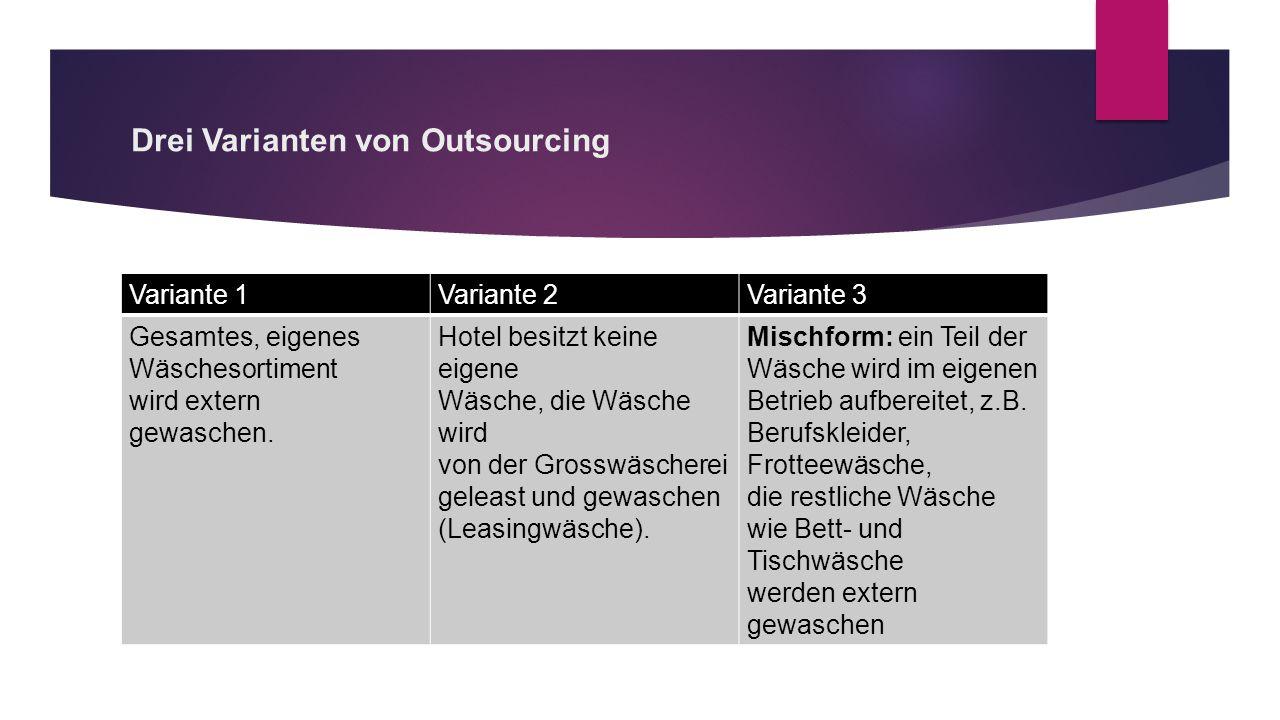 Drei Varianten von Outsourcing
