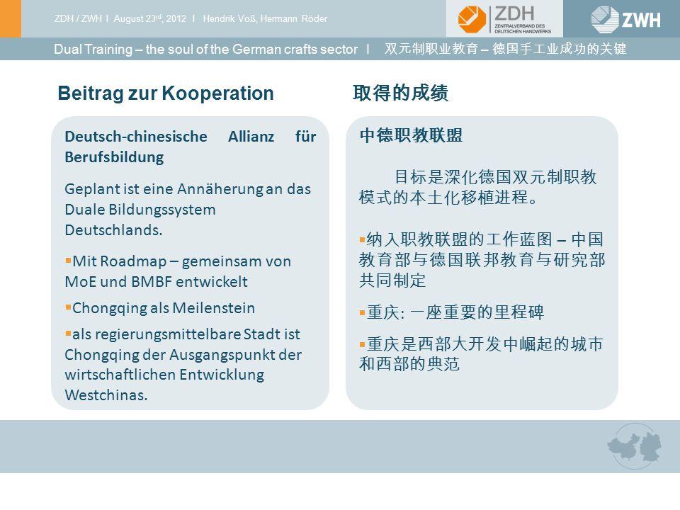 Beitrag zur Kooperation 取得的成绩