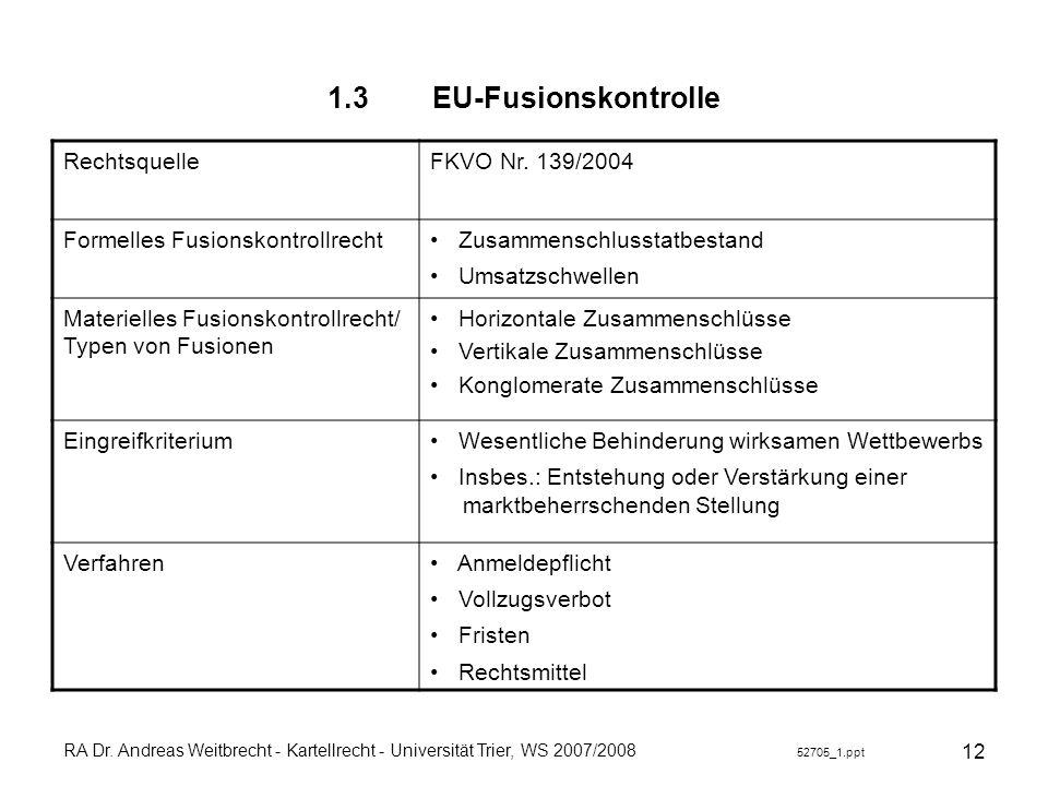 1.3 EU-Fusionskontrolle Rechtsquelle FKVO Nr. 139/2004