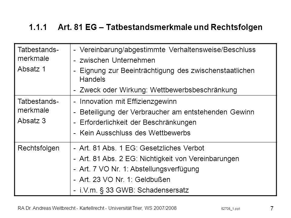 1.1.1 Art. 81 EG – Tatbestandsmerkmale und Rechtsfolgen