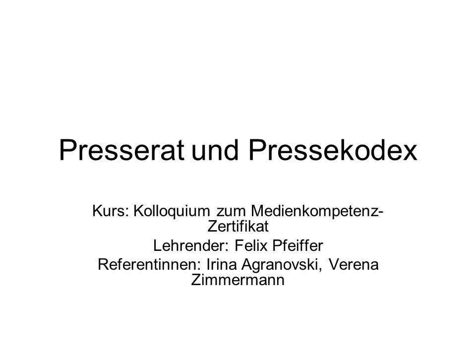 Presserat und Pressekodex