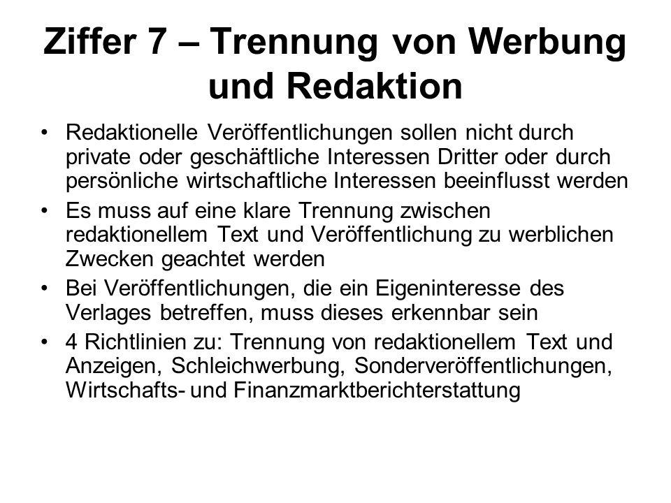 Ziffer 7 – Trennung von Werbung und Redaktion