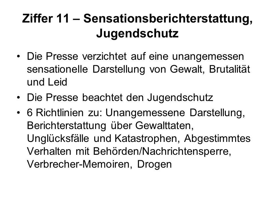 Ziffer 11 – Sensationsberichterstattung, Jugendschutz