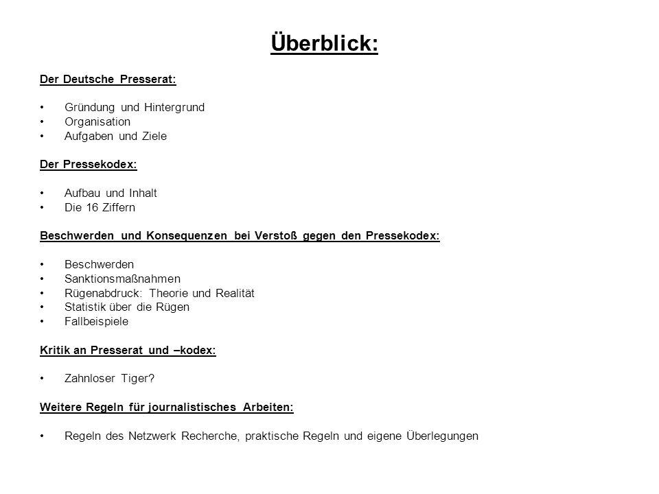 Überblick: Der Deutsche Presserat: Gründung und Hintergrund
