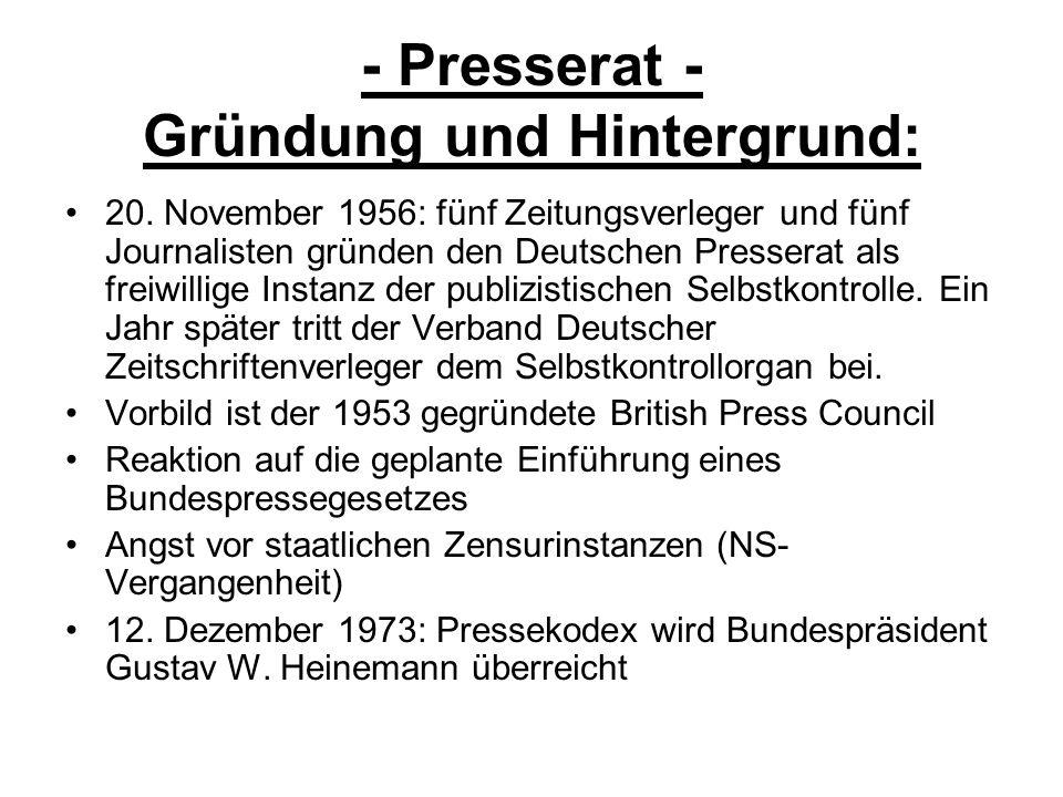 - Presserat - Gründung und Hintergrund: