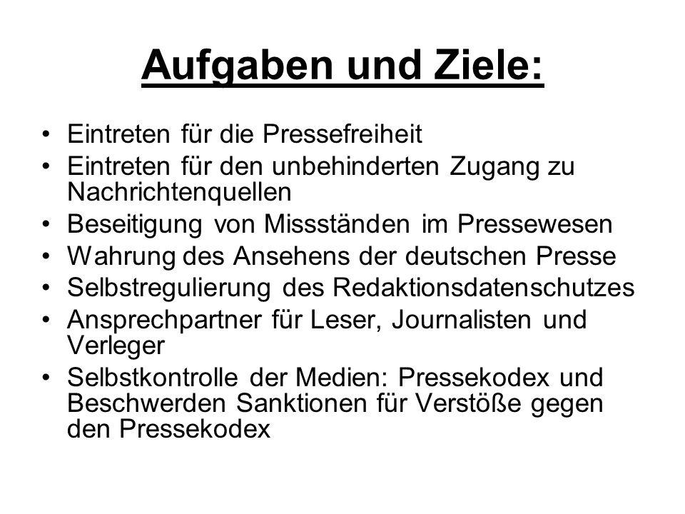 Aufgaben und Ziele: Eintreten für die Pressefreiheit