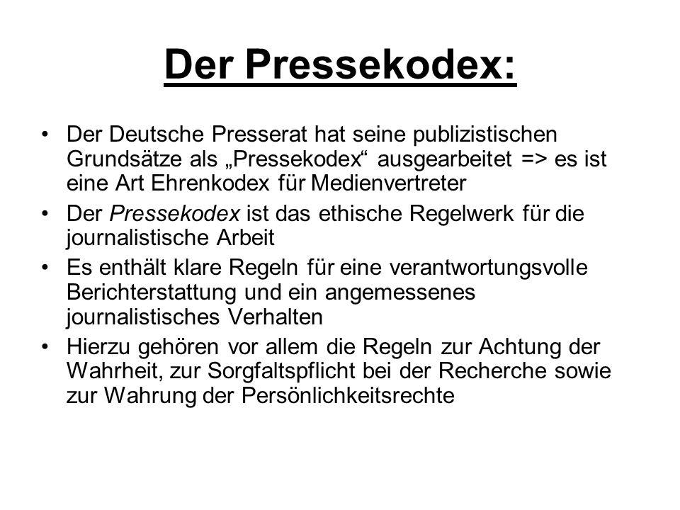 Der Pressekodex:
