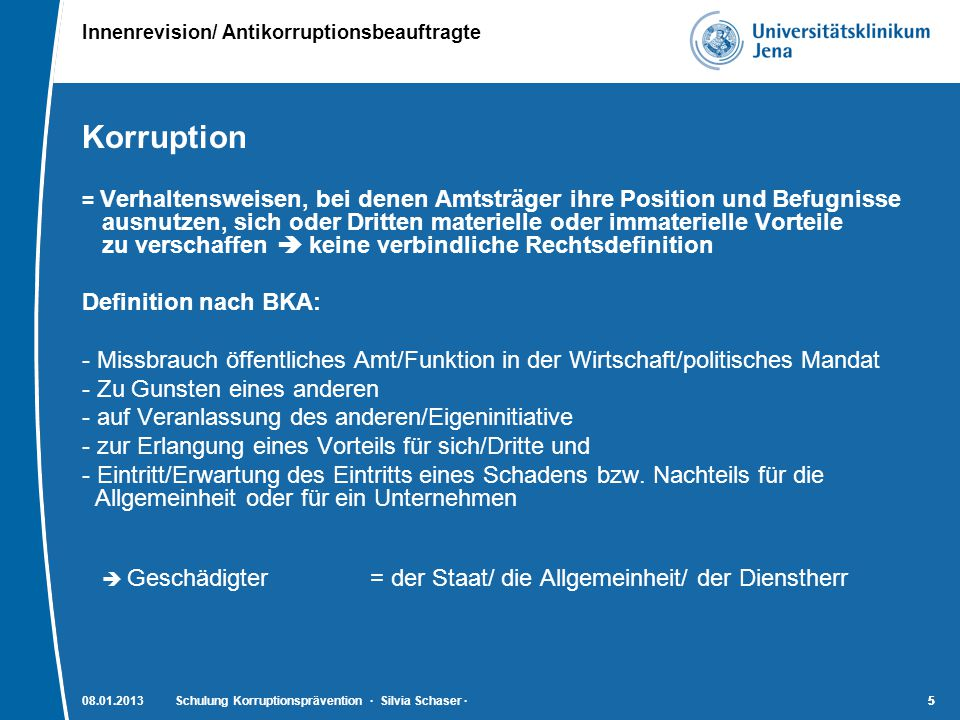 Korruption Definition nach BKA: