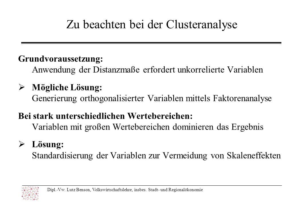 Zu beachten bei der Clusteranalyse