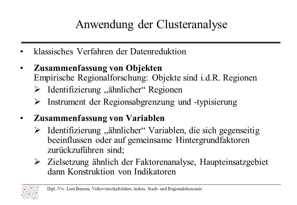 Anwendung der Clusteranalyse