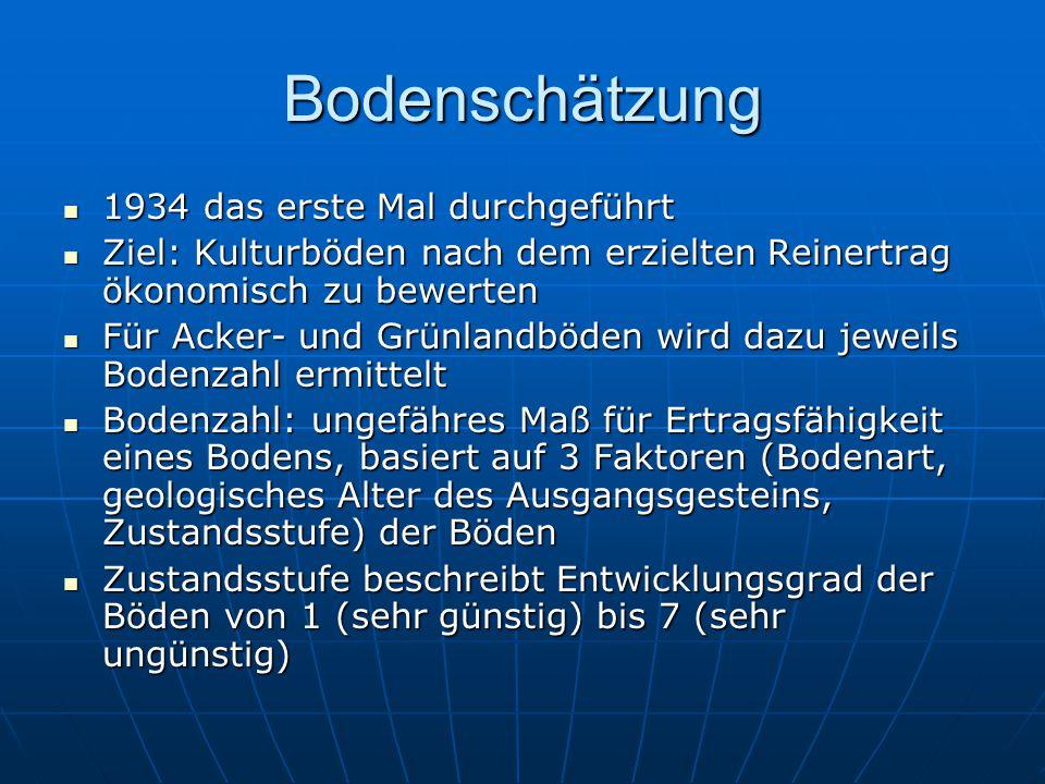 Bodenschätzung 1934 das erste Mal durchgeführt