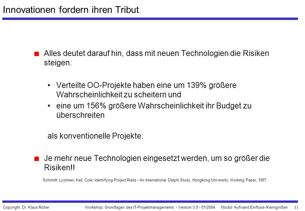 Innovationen fordern ihren Tribut