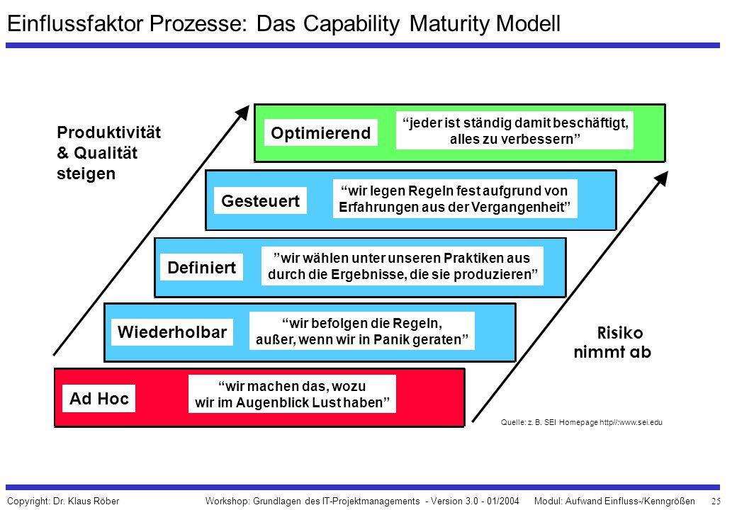 Einflussfaktor Prozesse: Das Capability Maturity Modell