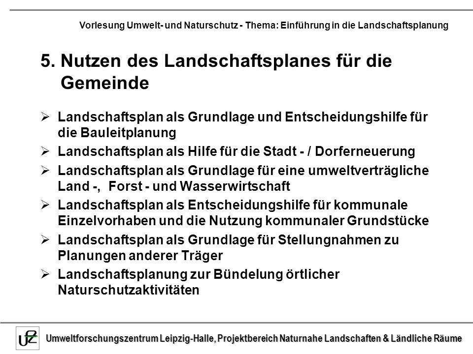 5. Nutzen des Landschaftsplanes für die Gemeinde
