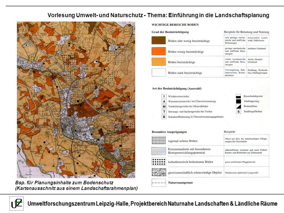 Bsp. für Planungsinhalte zum Bodenschutz (Kartenausschnitt aus einem Landschaftsrahmenplan)