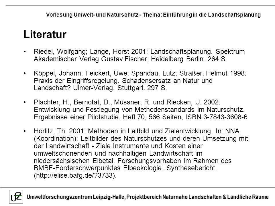 Literatur Riedel, Wolfgang; Lange, Horst 2001: Landschaftsplanung. Spektrum Akademischer Verlag Gustav Fischer, Heidelberg Berlin. 264 S.