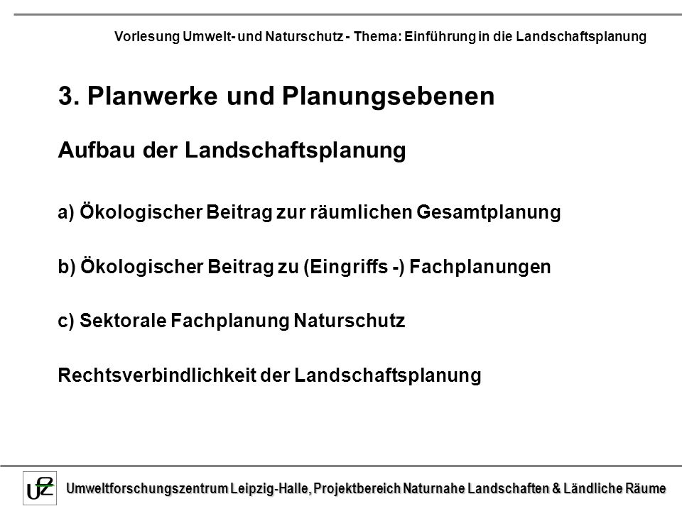 3. Planwerke und Planungsebenen