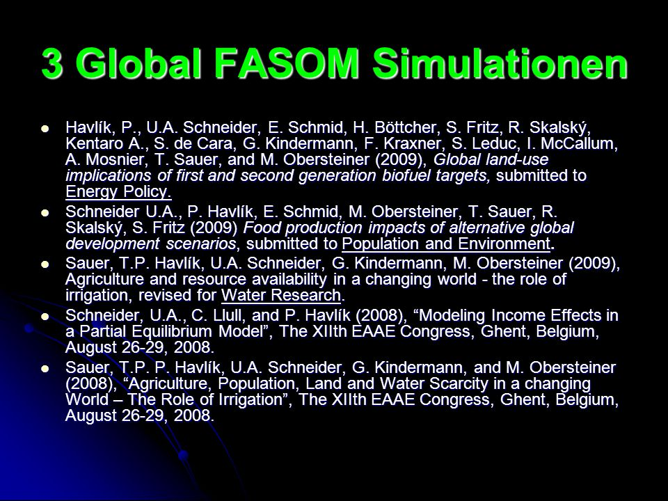 3 Global FASOM Simulationen