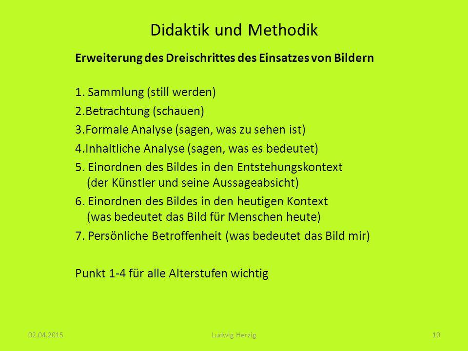 Didaktik und Methodik Erweiterung des Dreischrittes des Einsatzes von Bildern. 1. Sammlung (still werden)