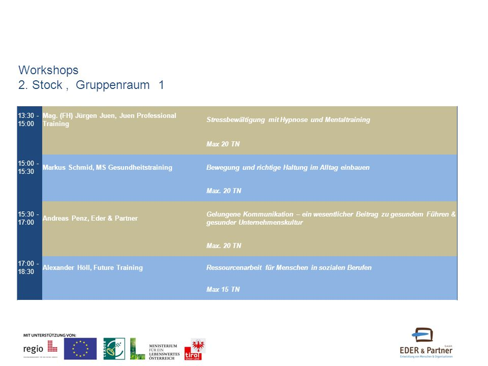 Workshops 2. Stock , Gruppenraum 1 13:30 - 15:00