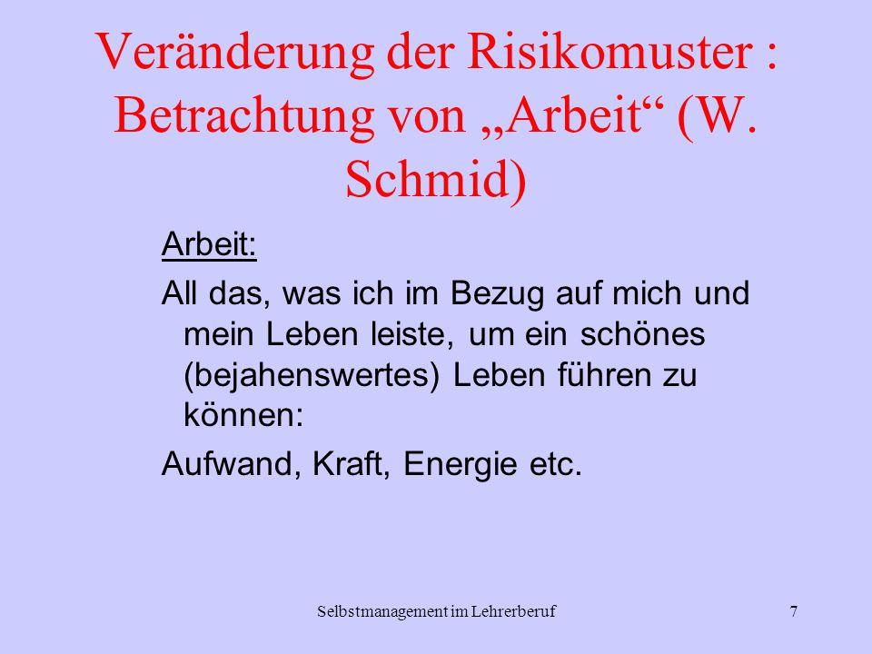 """Veränderung der Risikomuster : Betrachtung von """"Arbeit (W. Schmid)"""
